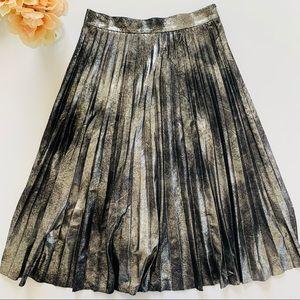 Zara Silver & Black Pleated Midi Skirt